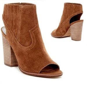 Dolce Vita brown suede peep toe cut out booties